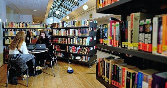 To elever arbejder ved bærbar computer på biblioteket