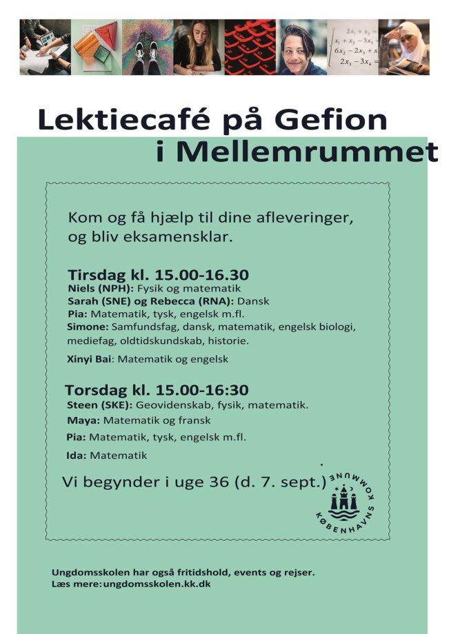Plakat for lektiecaféen på Gefion 2021